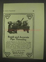 1922 Bignall & Keeler Pipe Threading Machines Ad