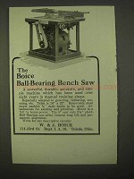 1922 Boice Ball-bearing Bench Saw Ad