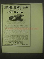 1922 Boice Junior Bench Saw Ad