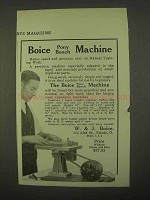 1922 Boice Pony Bench Machine Ad