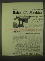 1922 Boice Pony Bench Machine Ad - Speed and Accuracy