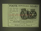 1922 Foote Bros. Dependable Gears Ad