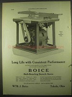 1922 Boice Ball-bearing Bench Saw Ad - Long Life