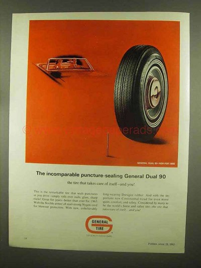 1965 General Tire Dual 90 Tires Ad - Puncture-Sealing