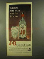 1965 J&B Scotch Ad - Compare Your Brand with Rare One