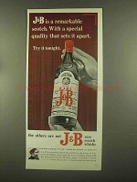 1965 J&B Scotch Ad - A Remarkable Scotch