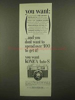 1965 Konica Auto-S Camera Ad - You Want