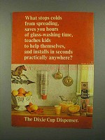 1965 Dixie Cup Dispenser Ad - Stops Colds Spreading
