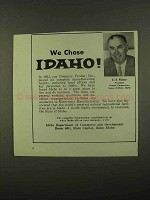 1965 Idaho Department of Commerce and Development Ad