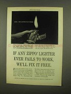 1965 Zippo Lighter Ad - Fails To Work
