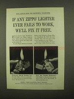 1965 Zippo Lighter Ad - Fails To Work We'll Fix It Free