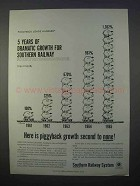 1966 Southern Railway Ad - 5 Years of Dramatic Growth