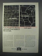 1966 Rock Island Railroad Ad - Des Moines in Corn Belt