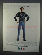 1966 h.i.s. Modnick Slacks, Shirts Ad - Mistake in 1776