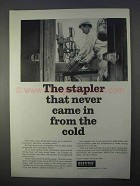 1966 Bostitch Top-and-bottom Stapler Ad - From the Cold