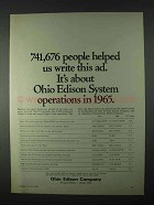 1966 Ohio Edison Ad - 741,676 People Helped Write Ad