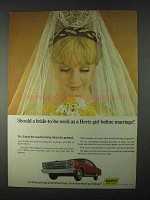 1966 Hertz Rent-a-Car Ad - Should Bride-to-Be Work?