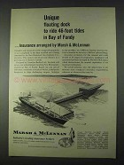 1966 Marsh & McLennan Insurance Ad - Dock Bay of Fundy