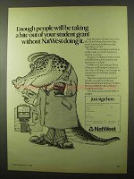 1978 NatWest Bank Ad - Taking Bite Out of Student Grant