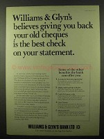1977 Williams & Glyn's Bank Ad - Giving Back Cheques