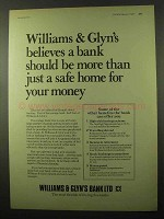 1977 Williams & Glyn's Bank Ad - Safe Home for Money