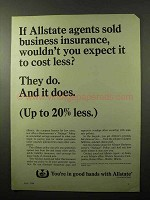 1966 Allstate Insurance Ad - Expect it To Cost Less