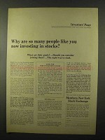 1966 Members New York Stock Exchange Ad - Investing