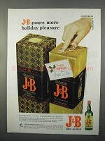 1966 J&B Scotch Ad - Pours More Holiday Pleasure