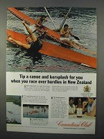 1966 Canadian Club Whisky Ad - Tip Canoe in New Zealand