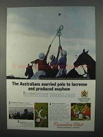 1966 Canadian Club Whisky Ad, Australians Polo Lacrosse