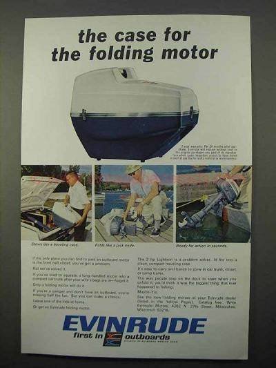 1966 Evinrude Lightwin Motor Ad, Case for Folding Motor