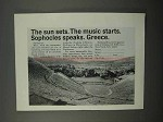 1966 Greece Tourism Ad - The Sun Sets. Sophocles
