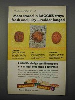 1966 Baggies Plastic Bags Ad - Meat Stays Fresh Juicy
