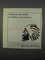 1966 Hilton Hotels Ad - Calling in Your Chiefs?