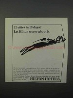 1966 Hilton Hotels Ad - 12 Cities in 13 Days?