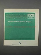 1966 Mead Moistrite Matte Paper Ad - Keeps Down Glare