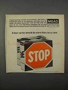 1966 Mead Cluster-Pak Packaging Ad - Beer Carton