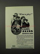 1931 Carl Zeiss Binoculars Ad - What a Play!