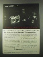 1959 Nikon SP Camera Ad - Today Nikon Leads
