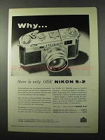 1956 Nikon S-2 Camera Ad - Why There is Only One