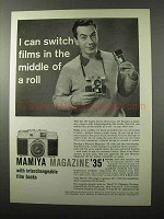 1958 Mamiya Magazine 35 Camera Ad - Switch in Middle