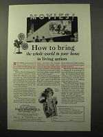 1928 Bell & Howell Filmo Movie Equipment Ad - Action
