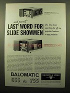 1961 Bausch & Lomb Balomatic 755 and 655 Projectors Ad