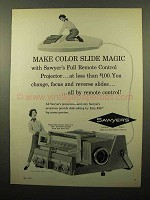 1961 Sawyer's 500 R Slide Projector Ad - Make Magic