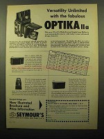 1961 Optika IIa Camera Ad - Versatility