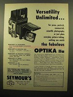 1961 Optika IIa Camera Ad - Versatility Unlimited