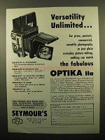 1960 Optika IIa Camera Ad - Versatility Unlimited
