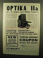 1960 Optika IIa Camera Ad - Single Lens Reflex