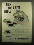 1960 Bausch & Lomb Balomatic Slide Projector Ad