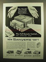 1960 Sawyer's 500 T Projector Ad - No Hands Operation